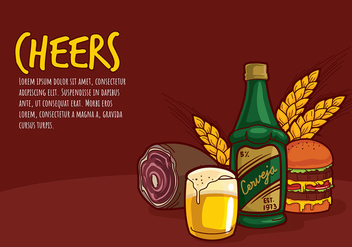 Cerveja and Bar Food Cartoon Free Vector - бесплатный vector #435453