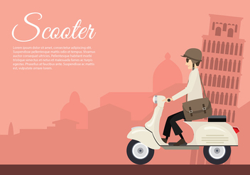 Scooter Italy Cartoon Free Vector - vector gratuit #435543