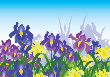 Iris Flower Background - vector #435593 gratis