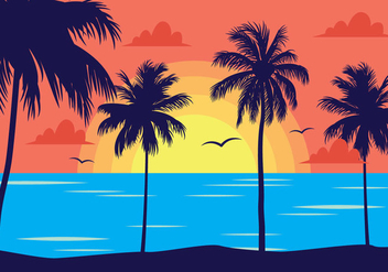 Tropical Sunset Landscape - Free vector #435613