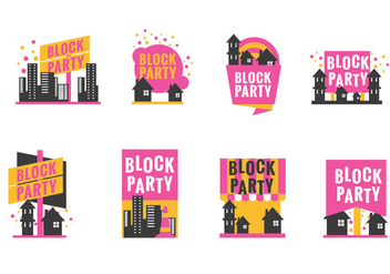 Set Block Party Label or Poster with Minimalist Style - vector gratuit #435713