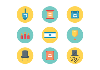 Judaism Flat Icons - Free vector #435723