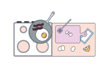 Free Breakfast Cooking Vector - vector #435813 gratis
