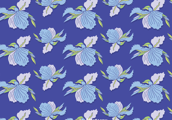 Blue Iris Flowers Seamless Pattern Vector - Free vector #435853
