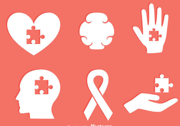 Autism Eement White Icons Vector - Free vector #435913