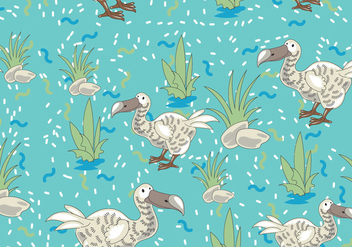 Dodo Bird Cartoon Character Seamless Pattern with Memphis Design Style - vector gratuit #435953
