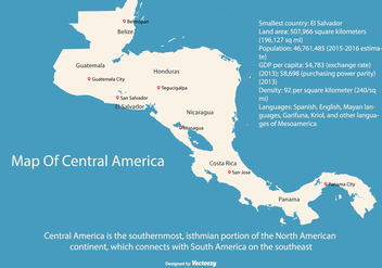 Central America Map Illustration - vector #436113 gratis
