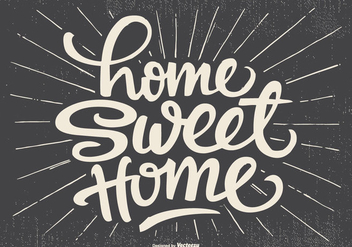 Cute Typographic Home Sweet Home Illustration - Free vector #436123