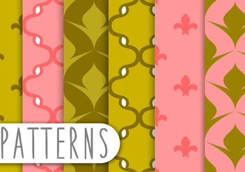 Pink and Green Decorative Pattern Set - vector gratuit #436223