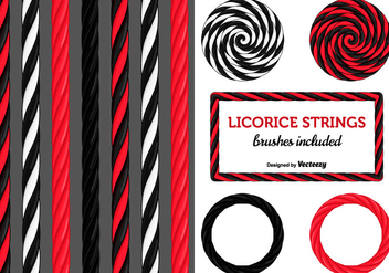 Black And Red Licorice Candy Strings - vector gratuit #436283