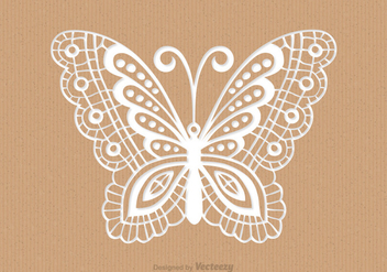 Recycled Paper Card With Laser Cut Mariposa - vector gratuit #436313