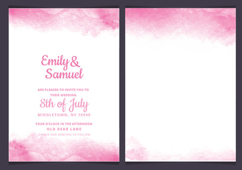 Vector Pink Delicate Watercolor Wedding Invitation - бесплатный vector #436433