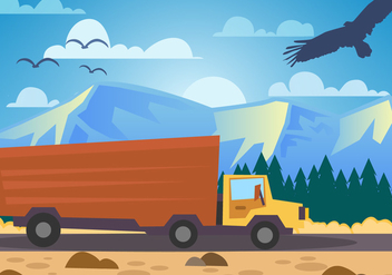 Mountain Landscape Camion Delivery Vector - бесплатный vector #436493