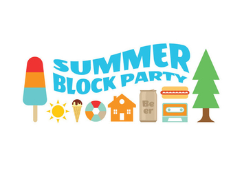Block Party Summer Icons - Free vector #436543