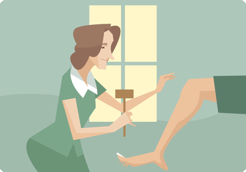 Woman Physiotherapist Giving Leg Theraphy Vector - vector #436683 gratis
