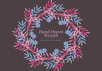 Vector Watercolor Branches Wreath - vector gratuit #436693