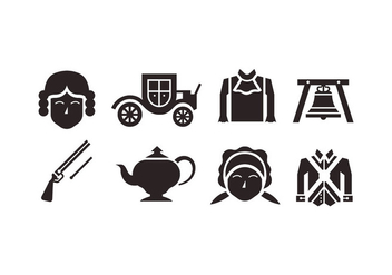 Colonial vector icons - vector #436743 gratis