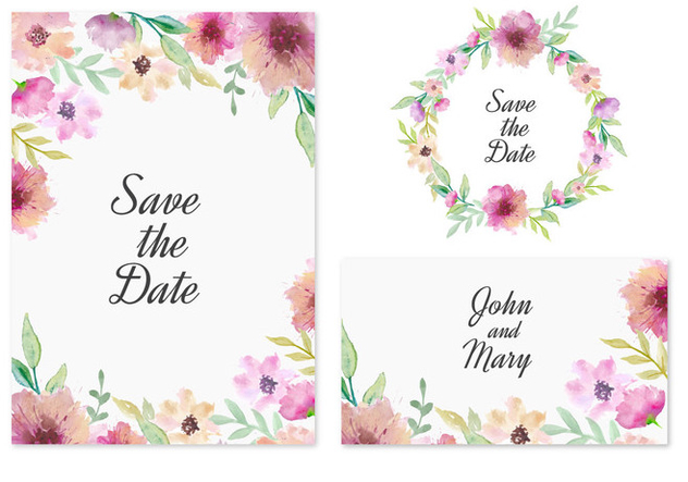 Free Vector Save The Date Card With Pink Watercolor Flowers - Kostenloses vector #436813