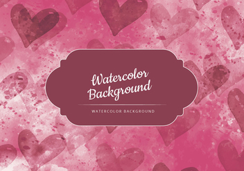 Vector Dark Red with Hearts Watercolor Background - Kostenloses vector #436823