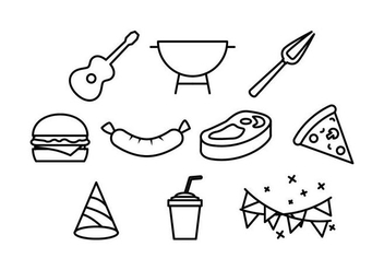 BBQ and Block Party Line Icon Element Vectors - Free vector #436833