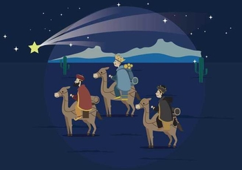 Three Wise Man Carrying Gold For Baby Jesus Illustration - Free vector #436903