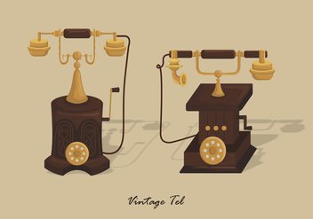 Vintage Gold Telephone Vector Illustration - vector gratuit #436913