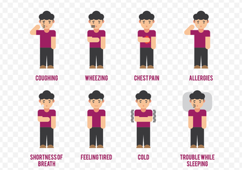 Asthma Symptoms Cartoon Character - Free vector #436953