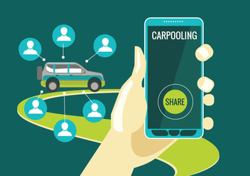 Carpooling Concept on Green Background - бесплатный vector #436993