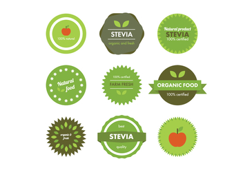 Natural Food Badges - Free vector #437113