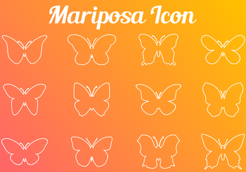 Stroke Line Butterfly Icon - Free vector #437123