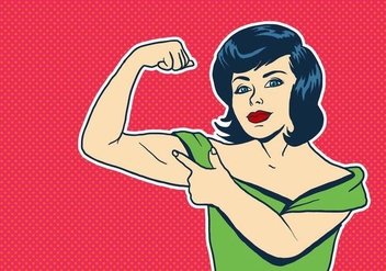 Young Happy Woman Flexing Muscles - vector gratuit #437173