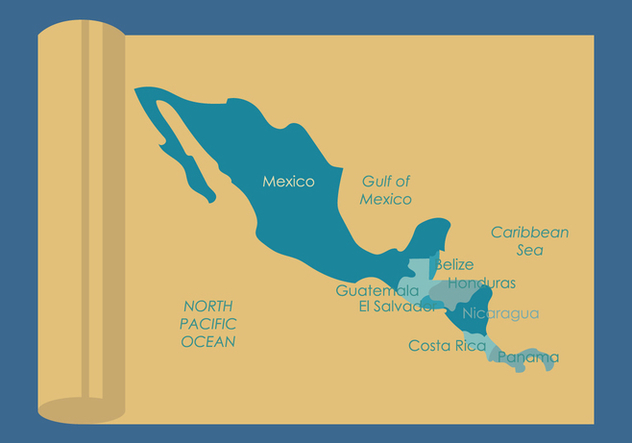 Central America Map Vectors - vector gratuit #437183