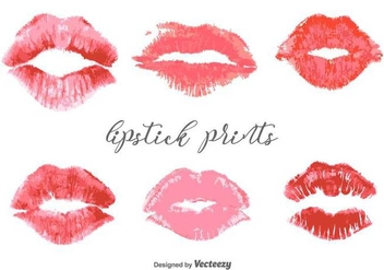 Vector Lipstick Prints Set - бесплатный vector #437393