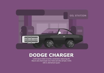 Dark Dodge Car Illustration - vector gratuit #437423