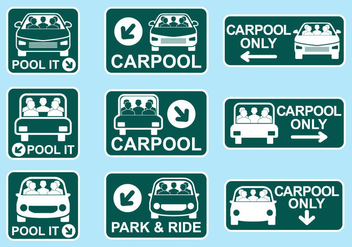 Carpool Sign Icon Vectors - vector gratuit #437433