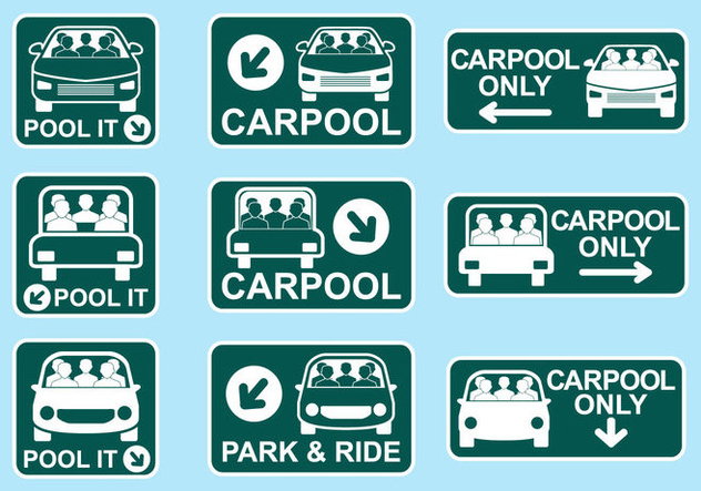 Carpool Sign Icon Vectors - Free vector #437433