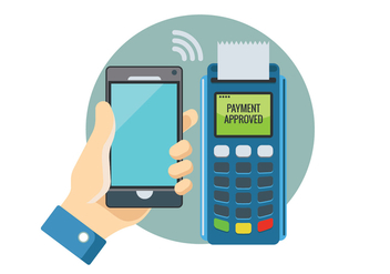 Payment in a Trade with NFC System with Mobile Phone - vector gratuit #437443