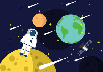 Astronaut In Space - vector gratuit #437463