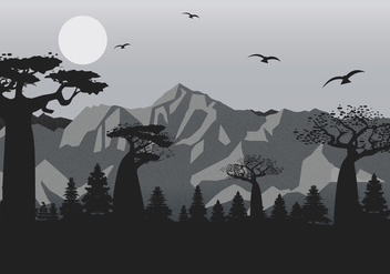 Mountain Landscape with Film Grain Effect Vector - vector #437483 gratis