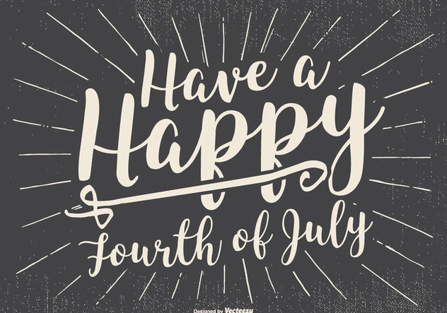 Rero Typographic Happy 4th of July Illustration - vector gratuit #437813
