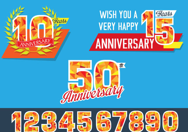 Polygonal Anniversary Celebration Design - vector gratuit #437843