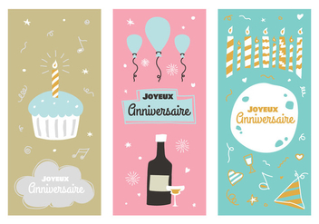 Vintage Anniversaire Vector Posters - Free vector #437873