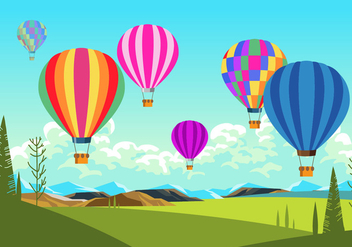 Colorful Hot Air Balloons Scene Vector - vector gratuit #437963