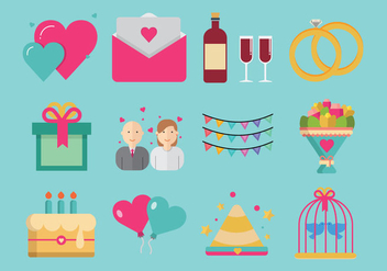 Party and Anniversary Icon Vectors - Free vector #437973