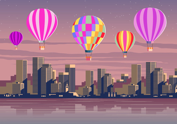 Hot Air Balloons Over The City Vector Scene - vector #437983 gratis