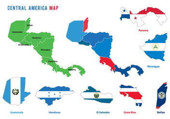 Central America Map Vectors - vector gratuit #438043