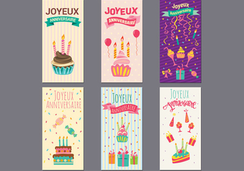 Birthday or Joyeux Anniversaire Greeting and Invitation Card Vectors - Free vector #438183