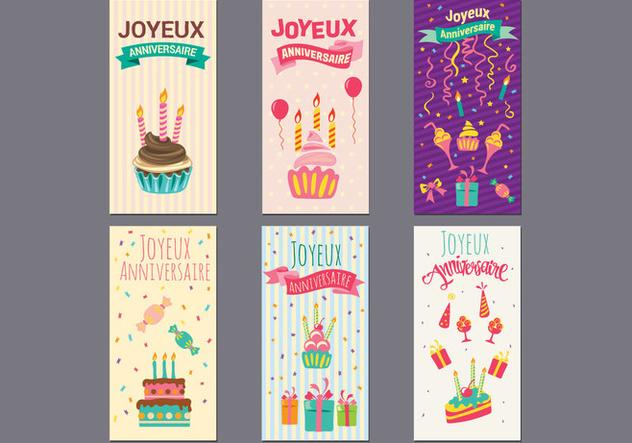 Birthday Or Joyeux Anniversaire Greeting And Invitation Card