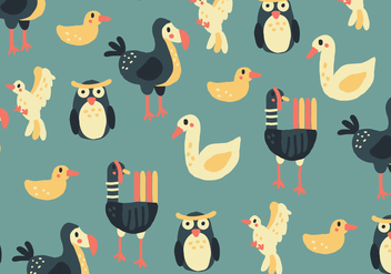 Colorful Pattern With Birds - vector gratuit #438203