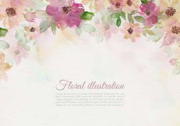 Free Vector Vintage Watercolor Floral Illustration - бесплатный vector #438293